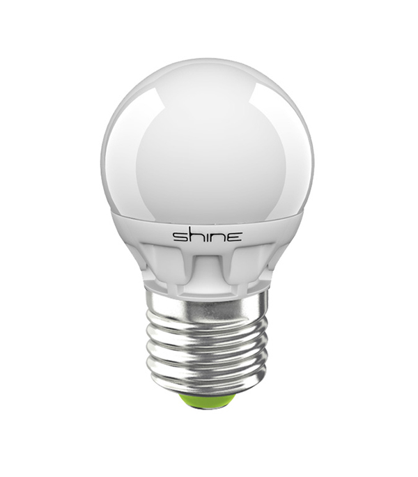 ььЛампа светодиодная E27,  5(6,5)W, G45 (шар), 3000K (теплый свет), Shine