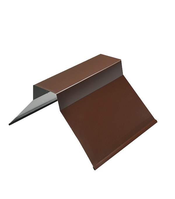 Конек для металлочерепицы плоский с пазом, 135х35х60х35х135 мм, 2 м коричневый RAL 8017