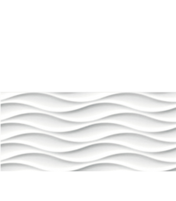 Плитка облицовочная 200х440х8,5 мм Вейв Блэк Флауэрс белый рельеф (12ш=1,05 кв.м)