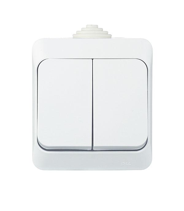 Выключатель двухклавишный  о/у IP 44 SchneiderElectricЭтюдбелый выключатель одноклавишный о у ip 44 schneiderelectricэтюдбелый