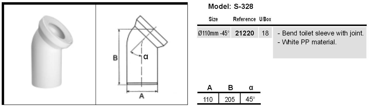 Труба фановая (отвод для унитаза) 110 мм х 45° Jimten S-328