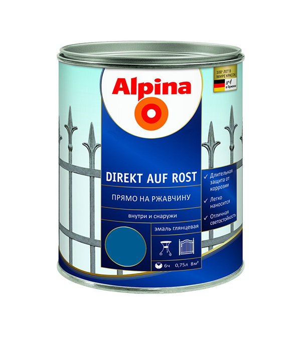 Эмаль по ржавчине Alpina Direkt A Rost RAL5010 Синий 0,75 л