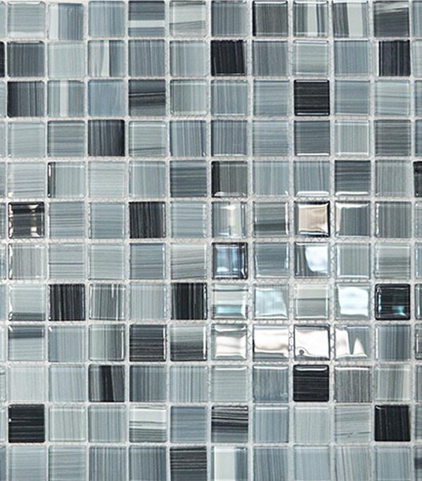 Мозаика стеклянная 327х327х4 мм серый полосатый на сетке (10 шт = 1,07 кв.м)