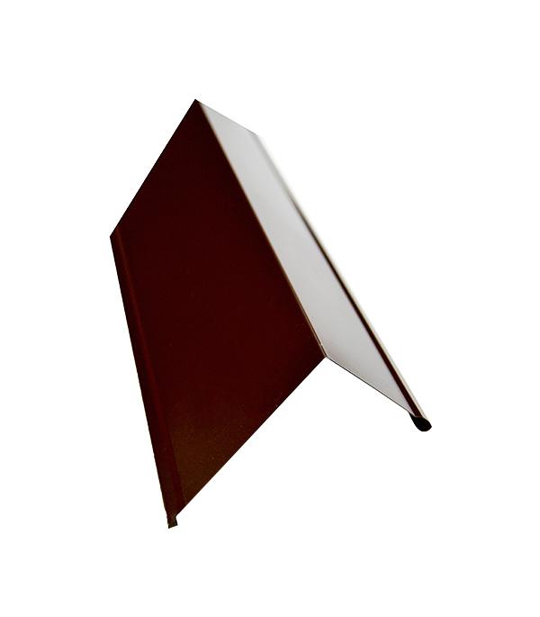 Планка торцевая для металлочерепицы 80х100 мм, 2 м коричневая RAL 8017