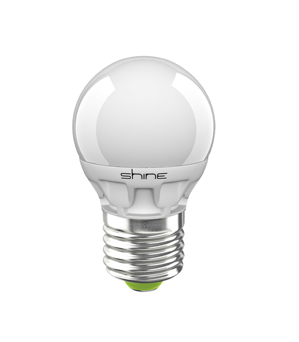 Лампа светодиодная E27,  5(6,5)W, G45 (шар), 4000K (холодный свет), Shine