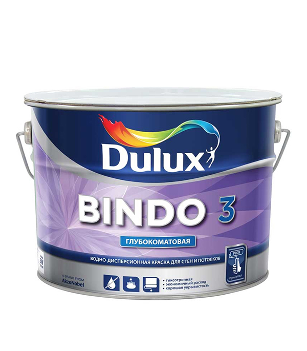 цена на Краска в/д Dulux Bindo 3 основа BW глубокоматовая 10 л