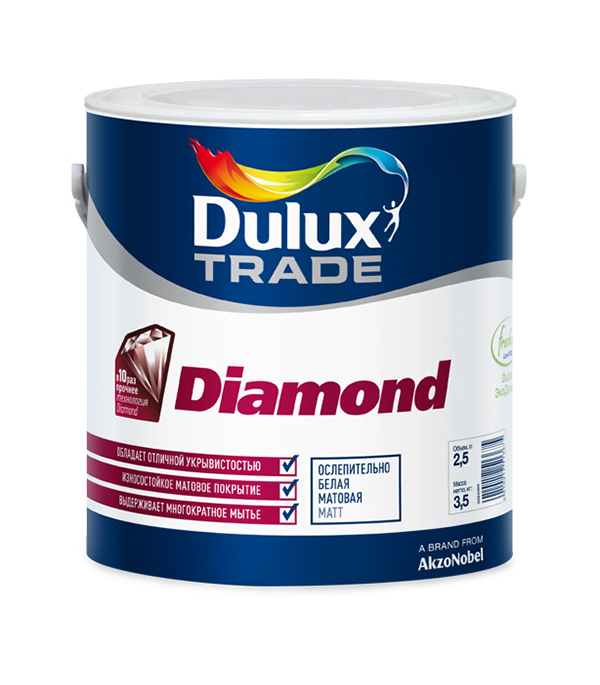 Краска в/д Diamond Matt основа BC матовая Dulux 2,5 л