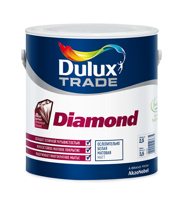 Краска в/д Diamond Matt основа BM матовая Dulux 2,5 л