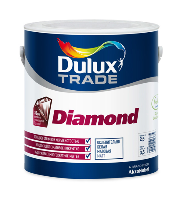 Краска в/д Diamond Matt основа BW матовая Dulux 10 л