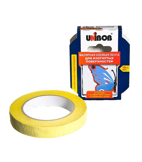 Лента малярная Unibob белая для фигурных линий 19 мм х 25 м атс panasonic kx tem824ru аналоговая 6 внешних и 16 внутренних линий предельная ёмкость 8 внешних и 24 внутренних линий