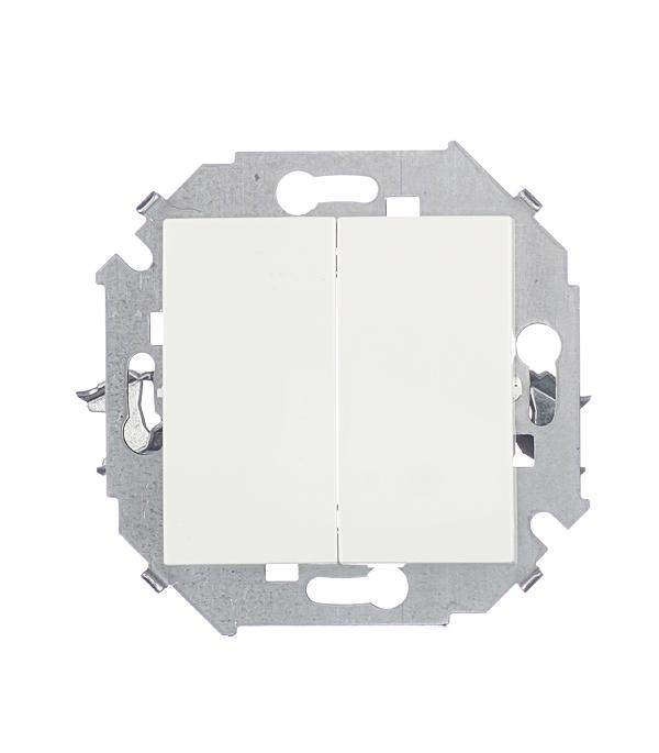 Выключатель двухклавишный Simon 15 16А белый выключатель двухклавишный наружный бежевый 10а quteo