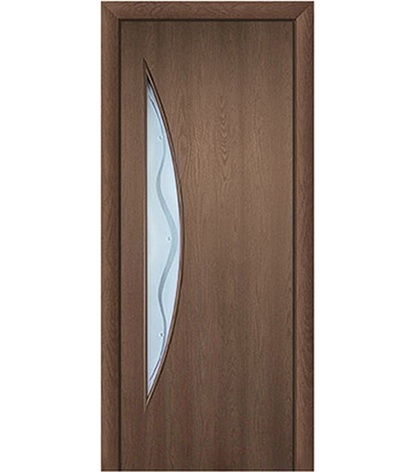 Дверное полотно с 3D покрытием Луна Каштан 700х2000 мм, со стеклом