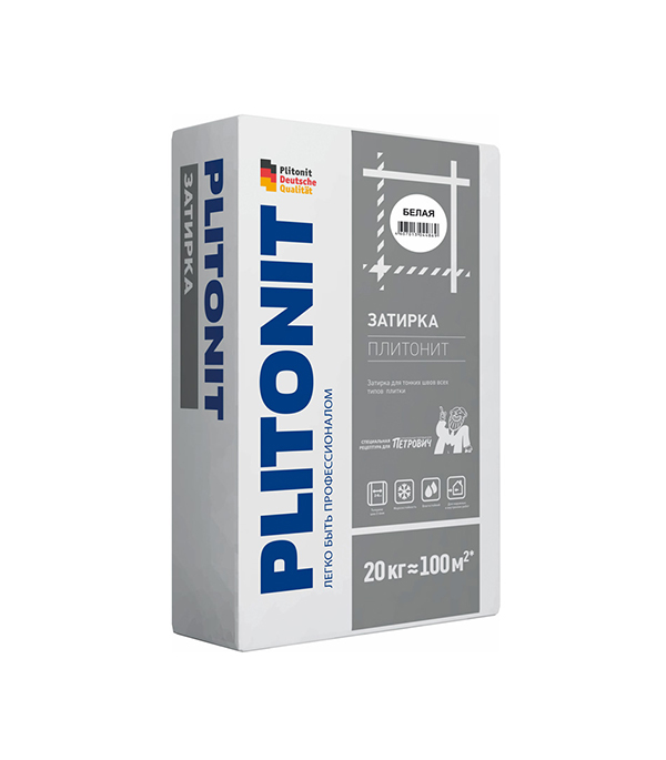 Затирка для плитки PLITONIT белая 20 кг ровнитель для пола plitonit юниверсал самовыравнивающийся 20 кг