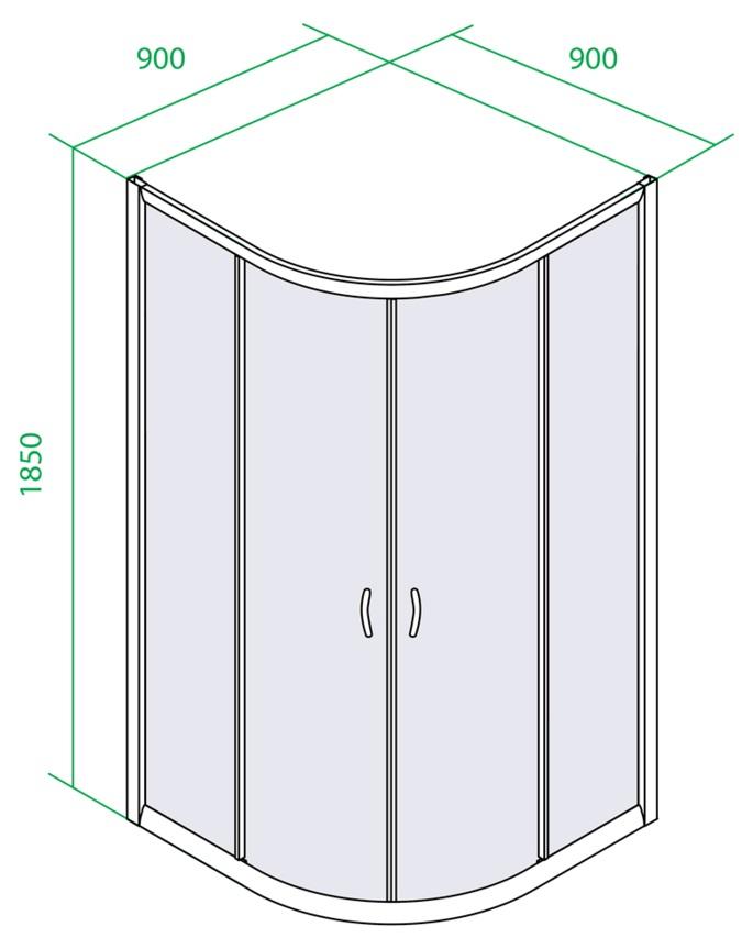 Дверки душевые полукруглые для низкого поддона 900х900х1850 мм