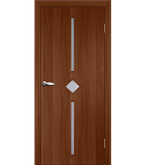 Дверное полотно ламинированное Кристалл Итальянский орех гладкое 600х2000 мм со стеклом