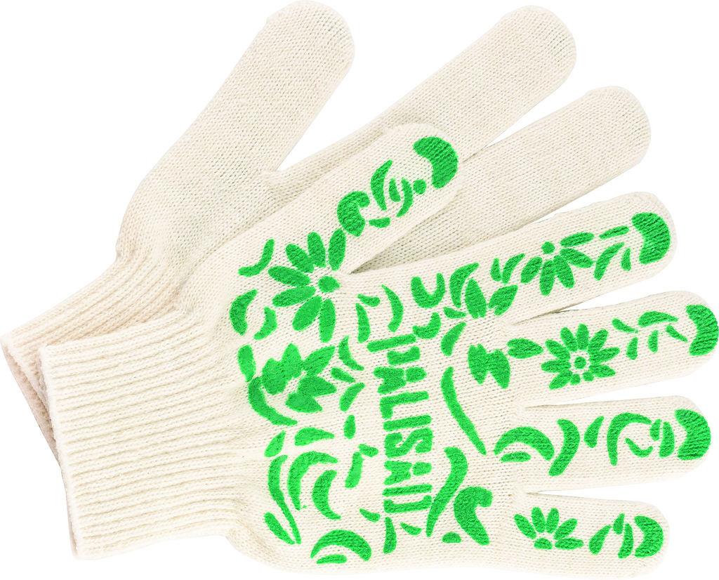 Перчатки  х.б. с ПВХ покрытием, садовые Эконом