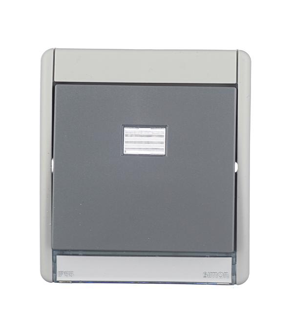Рамка для одноклавишного выключателя + клавиша под механизмы S27 IP55 S44 Aqua серый