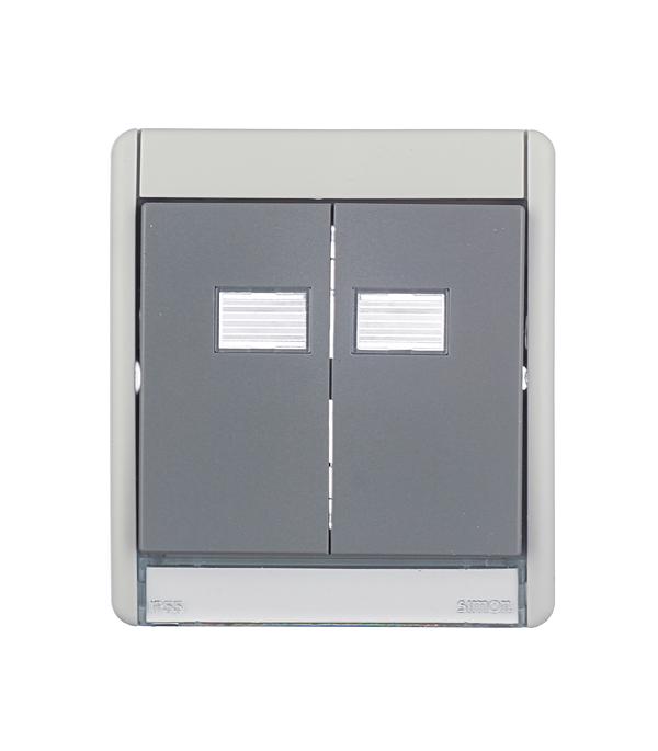 Рамка для двухклавишного выключателя + 2 клавиши под механизмы S27 IP55 S44 Aqua серый