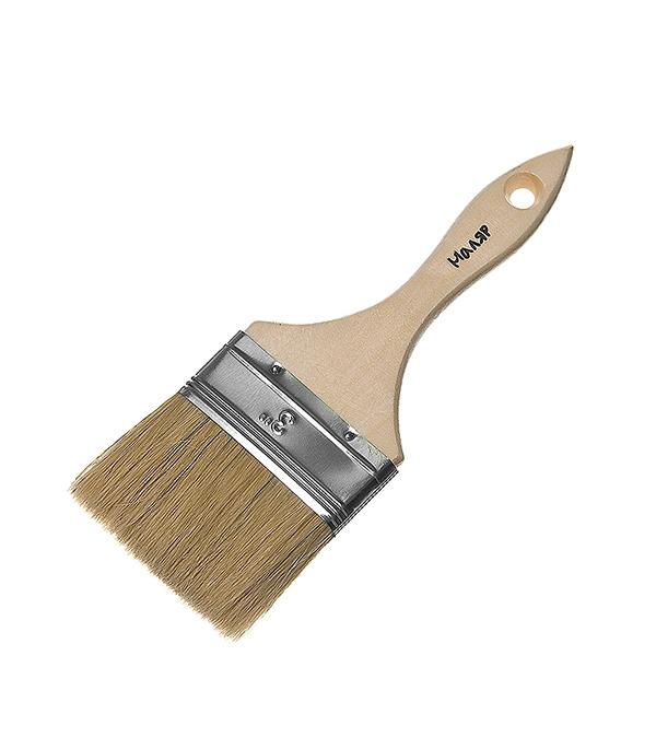 Кисть плоская 75 мм смешанная щетина деревянная ручка  цена и фото