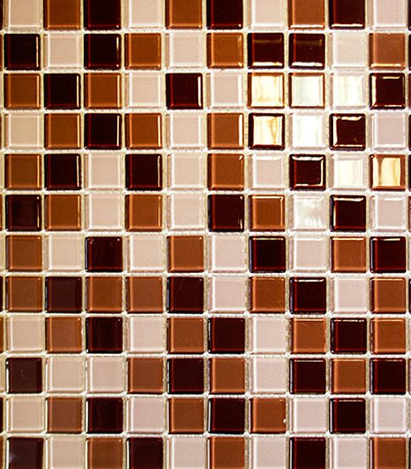 Мозаика стеклянная 327х327х4 мм шоколадный микс на сетке (10 шт = 1,07 кв.м)