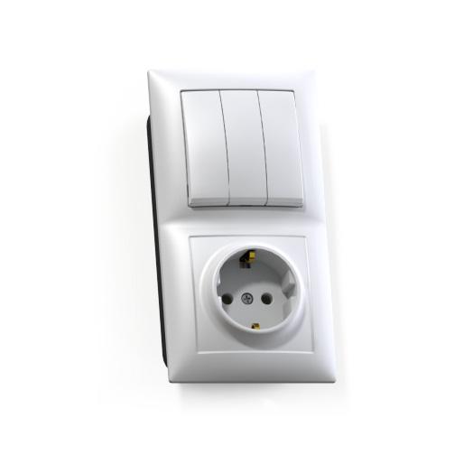 Блок Селена с/у белый (3-кл. выкл. 10А + розетка с з/к 16А)