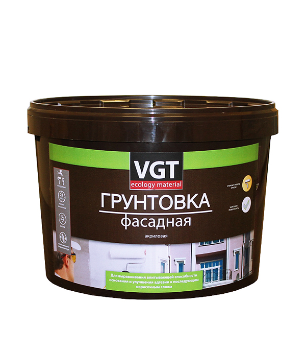 Грунт фасадный VGT 10 кг грунт концентрат vgt водостоп акрил 1 кг