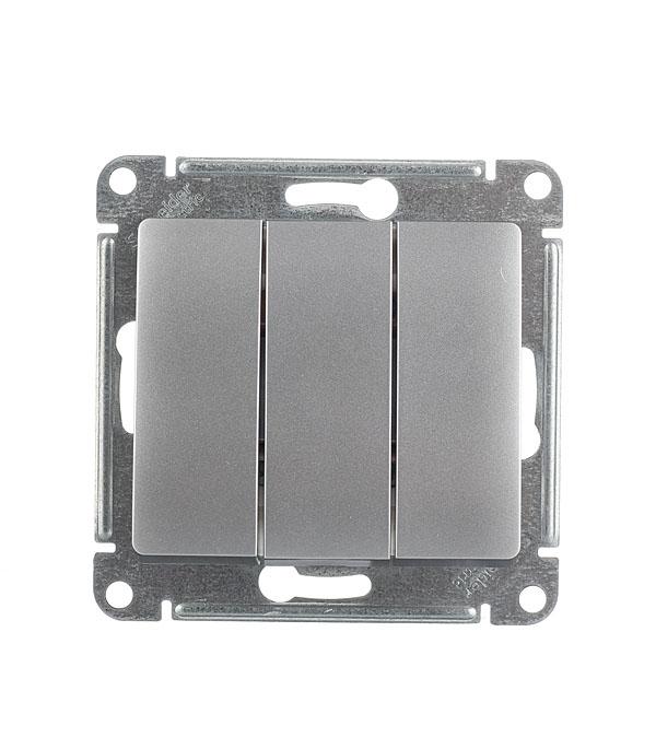 Механизмвыключателятрехклавишногос/уSchneiderElectricGlossa алюминий выключатель двухклавишный наружный бежевый 10а quteo