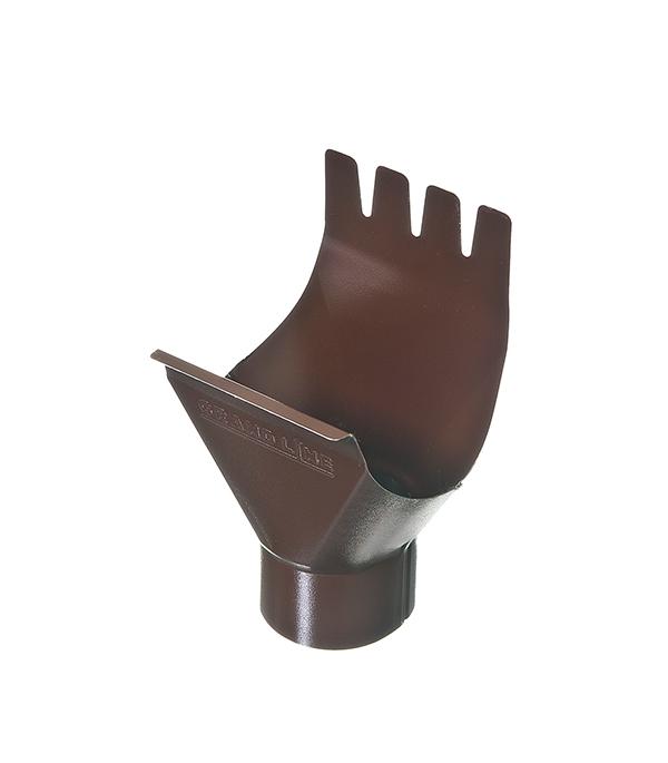 Воронка желоба Grand Line 125/90 мм коричневая металлическая кронштейн крюк желоба металлический 70 мм коричневый grand line