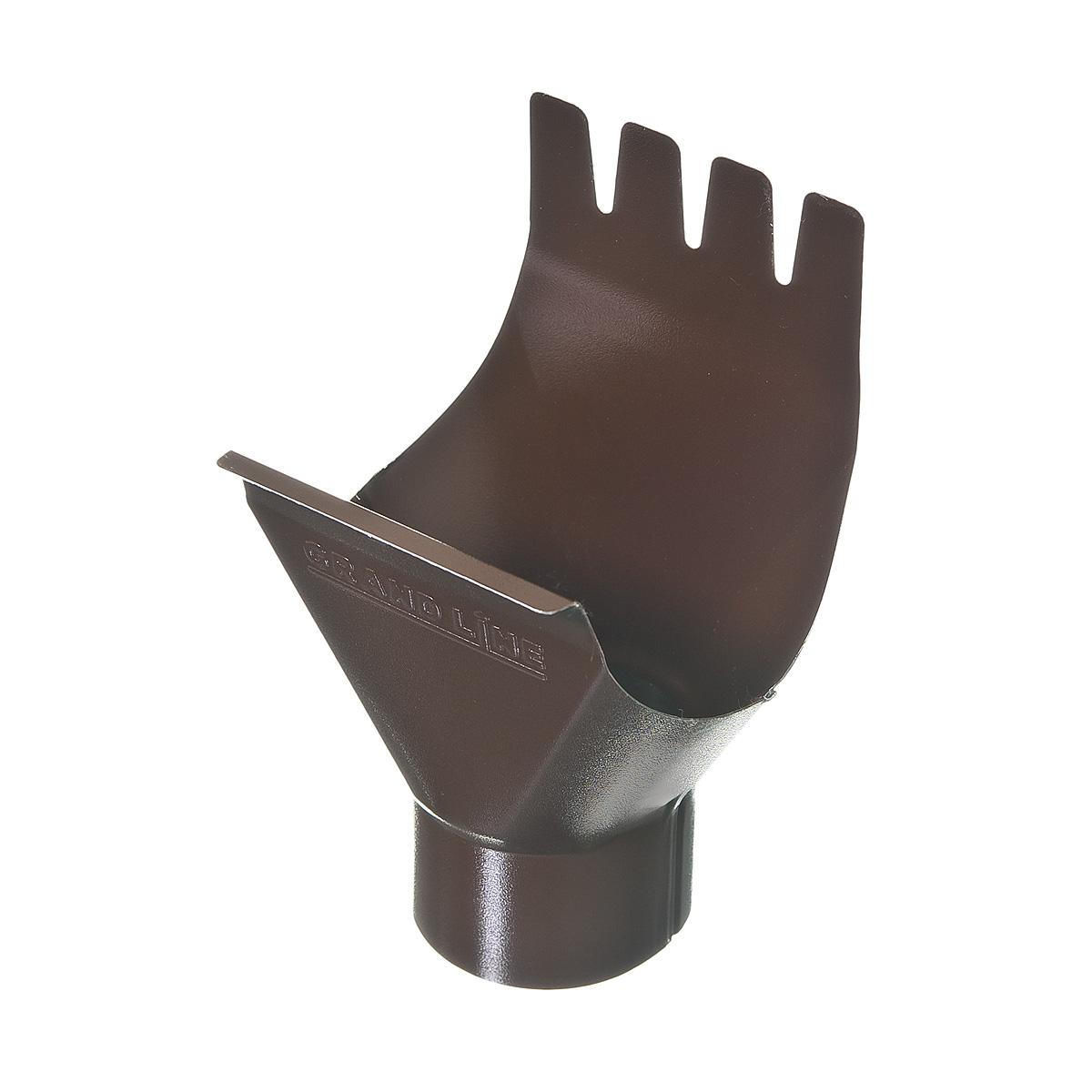 Воронка желоба металлическая 125/90 мм коричневая Grand Line