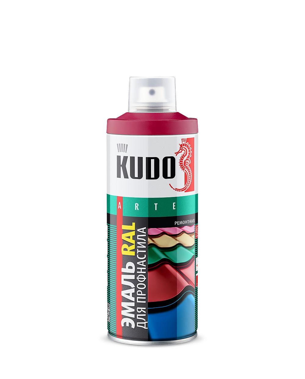 Эмаль для металлочерепицы аэрозольная Kudo Ral 3009 красная окись 520 мл