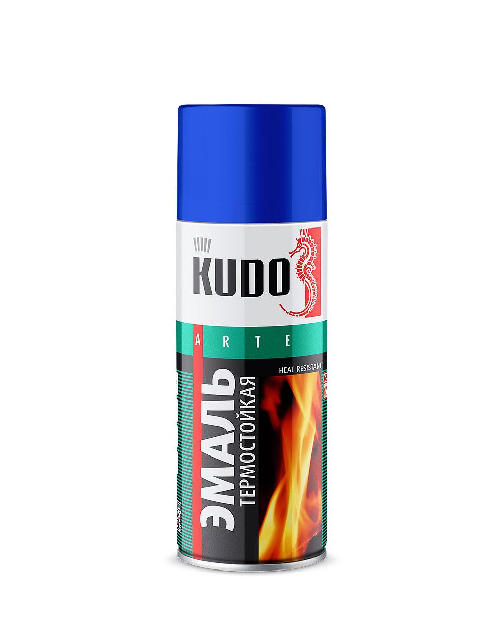 Эмаль термостойкая аэрозольная Kudo серебристая 520 мл