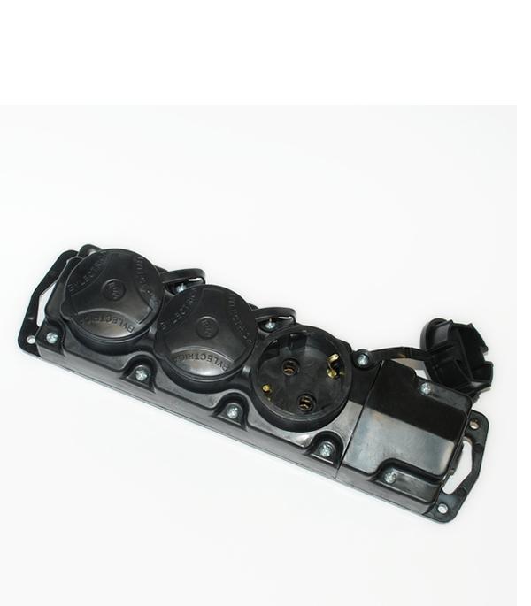 Розетка каучуковая  штепсельная трехместная с заземляющим контактом брызгозащищенная настенная однофазная каучуковая розетка с заглушкой universal 602229