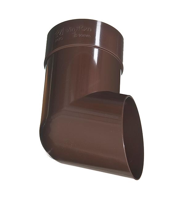 Колено стока пластиковое (слив трубы) d90 мм коричневое (кофе) VINYL-ON