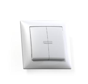Выключатель Селена с/у 2-кл. с подсв. белый, 250В 10А