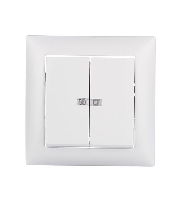 Выключатель двухклавишный Селена с/у с подсветкой белый 250В 10А выключатель двухклавишный legrandquteo о у белый