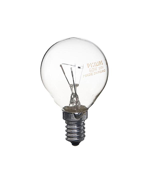 Лампа накаливания E14, 60W, Р45 (шар), CL (прозрачная) Philips