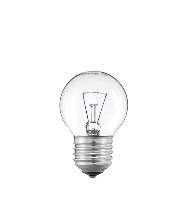 Лампа накаливания E27, 40W, Р45 (шар), CL (прозрачная) Philips