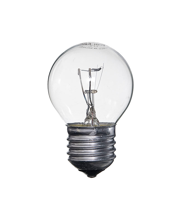 Лампа накаливания E27, 60W, Р45 (шар), CL (прозрачная) Philips