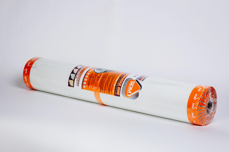 Сетка стеклотканевая фасадная SD-Glass ячейка 4х4 мм, рулон 1х50 м, 165 г/м.кв. Стандарт