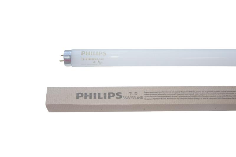 Лампа люминесцентная 36W/640 (холодный свет), d26 (Т8), G13, 1200 мм, Philips, TL-D