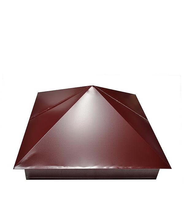 Колпак на столб красное вино  RAL 3005 400х400 мм колпак на столб 400х400 коричневый ral 8017
