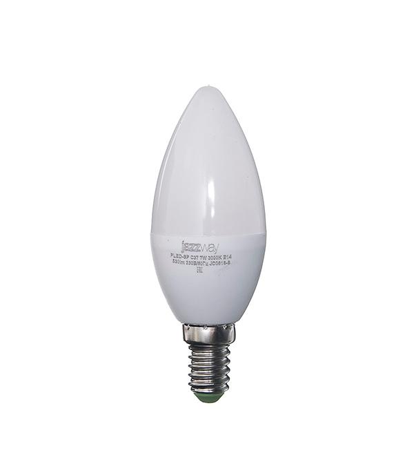 Лампа светодиодная E14, 7W, C37 (свеча), 3000K (теплый свет), Jazzway