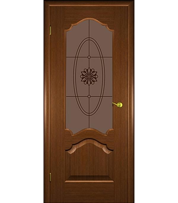 Дверное полотно  ДПО Верона  шпонированное орех 700 x 2000 мм без притвора со стеклом