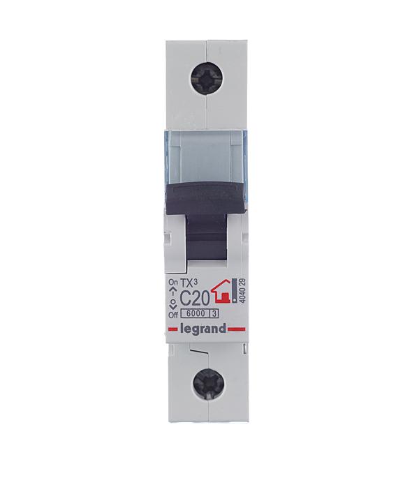 Автомат 1P 20А тип С 6 kA Legrand TX3 дифференциальный автомат 1p n 20а тип c 30 ма 4 5 ka abb dsh941r