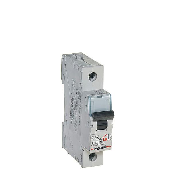 Автомат 1P 25А тип С 6 kA Legrand TX3 дифференциальный автомат 1p n 25а тип c 30 ма 4 5 ka abb dsh941r