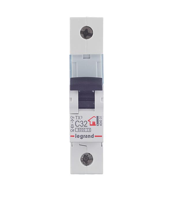Автомат 1P 32А тип С 6 kA Legrand TX3 дифференциальный автомат 1p n 32а тип c 30 ма 4 5 ka abb dsh941r