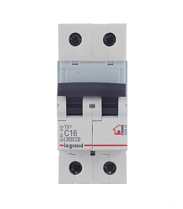 Автомат 2P 16А тип С 6 kA Legrand TX3  автомат 3p 20а тип с 6кa legrand tx3