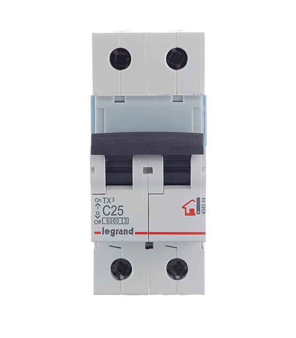 Автомат 2P 25А тип С 6 kA Legrand TX3  автомат 3p 20а тип с 6кa legrand tx3