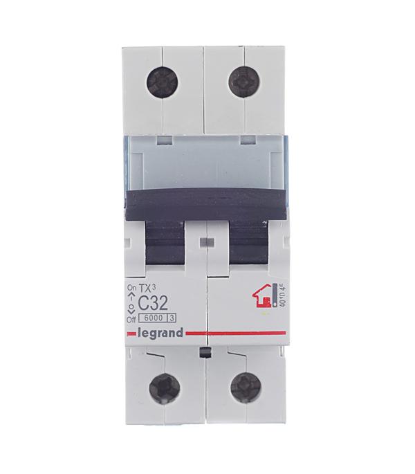 Автомат 2P 32А тип С 6 kA Legrand TX3  автомат 3p 20а тип с 6кa legrand tx3