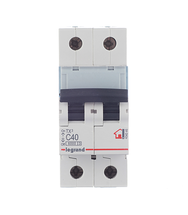 Автомат 2P 40А тип С 6 kA Legrand TX3  автомат 3p 20а тип с 6кa legrand tx3